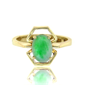 18ct Vintage Green Apple Jade Ring