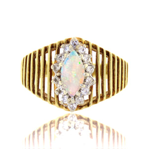 14ct Geometric Opal and Diamond Cocktail Ring