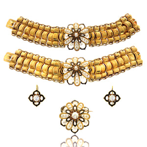 18ct Bosson Double Bracelet, Earrings, and Brooch Set in Original Box c. 1860