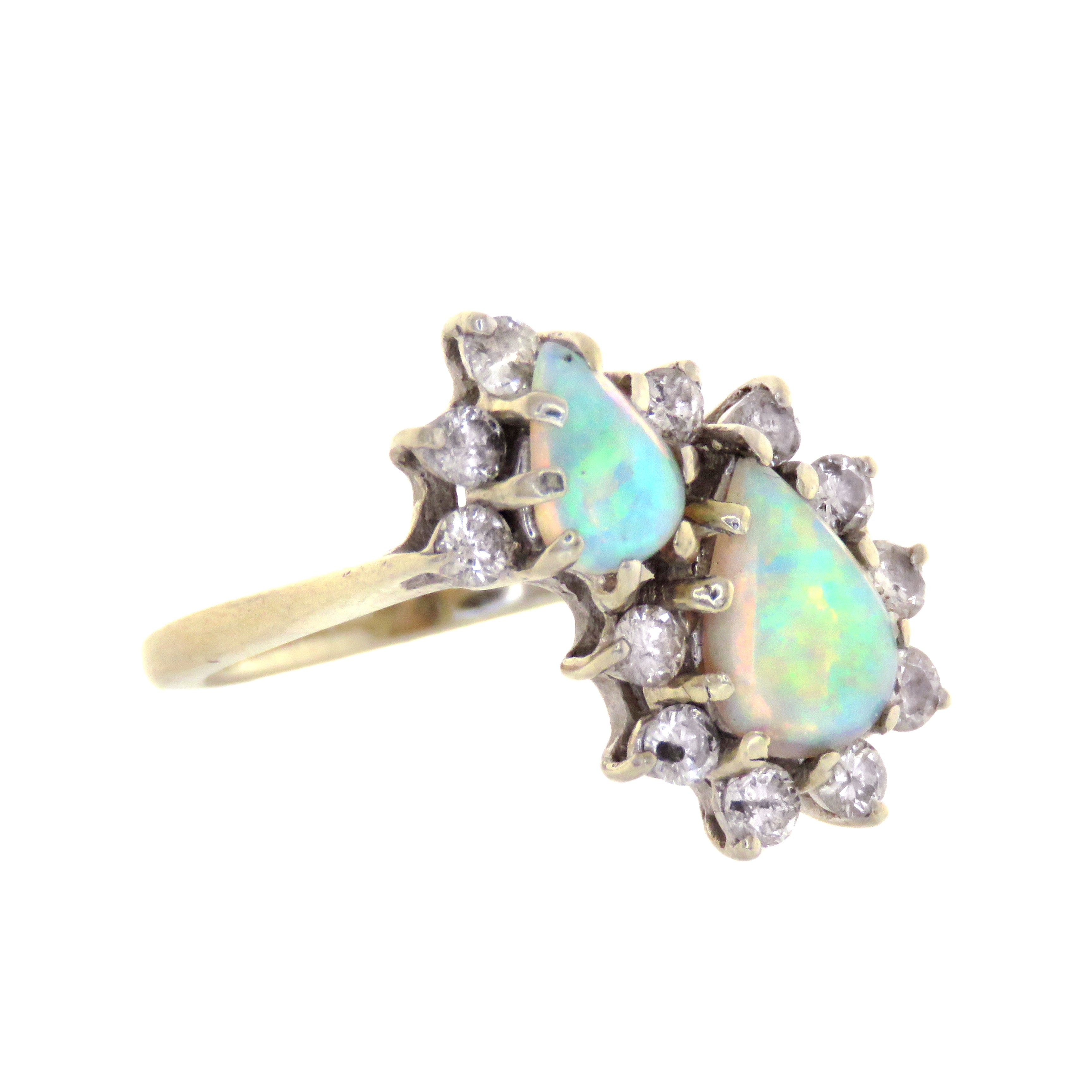 14ct Double Opal Cocktail Ring with Diamonds