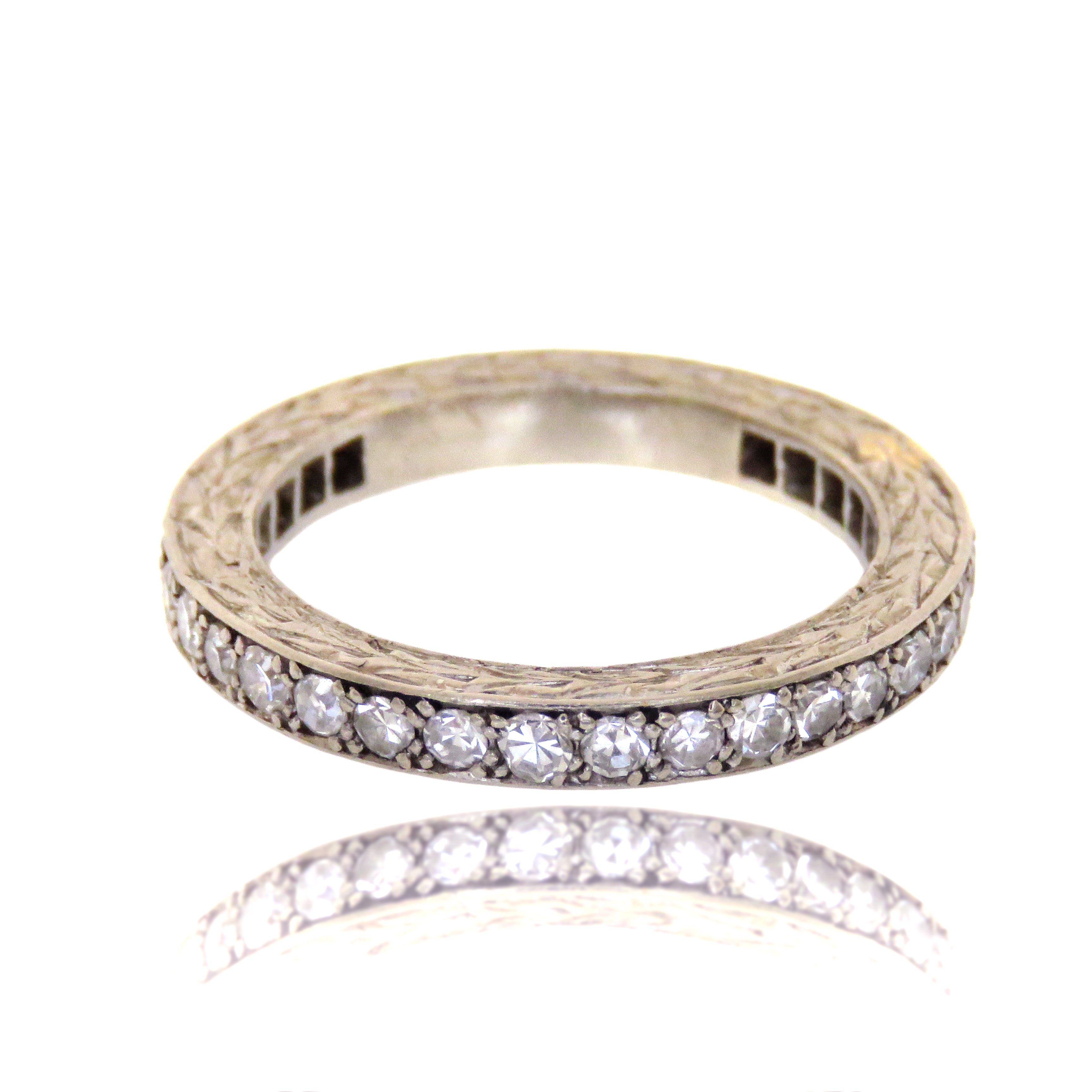 18ct Single Cut Diamond Eternity Ring with Side Etching