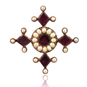9ct Georgian Garnet and Pearl Maltese Cross Brooch with Inscription