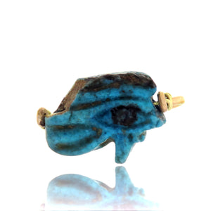 14ct Egyptian Wedjat Eye Blue Faience Amulet Ring