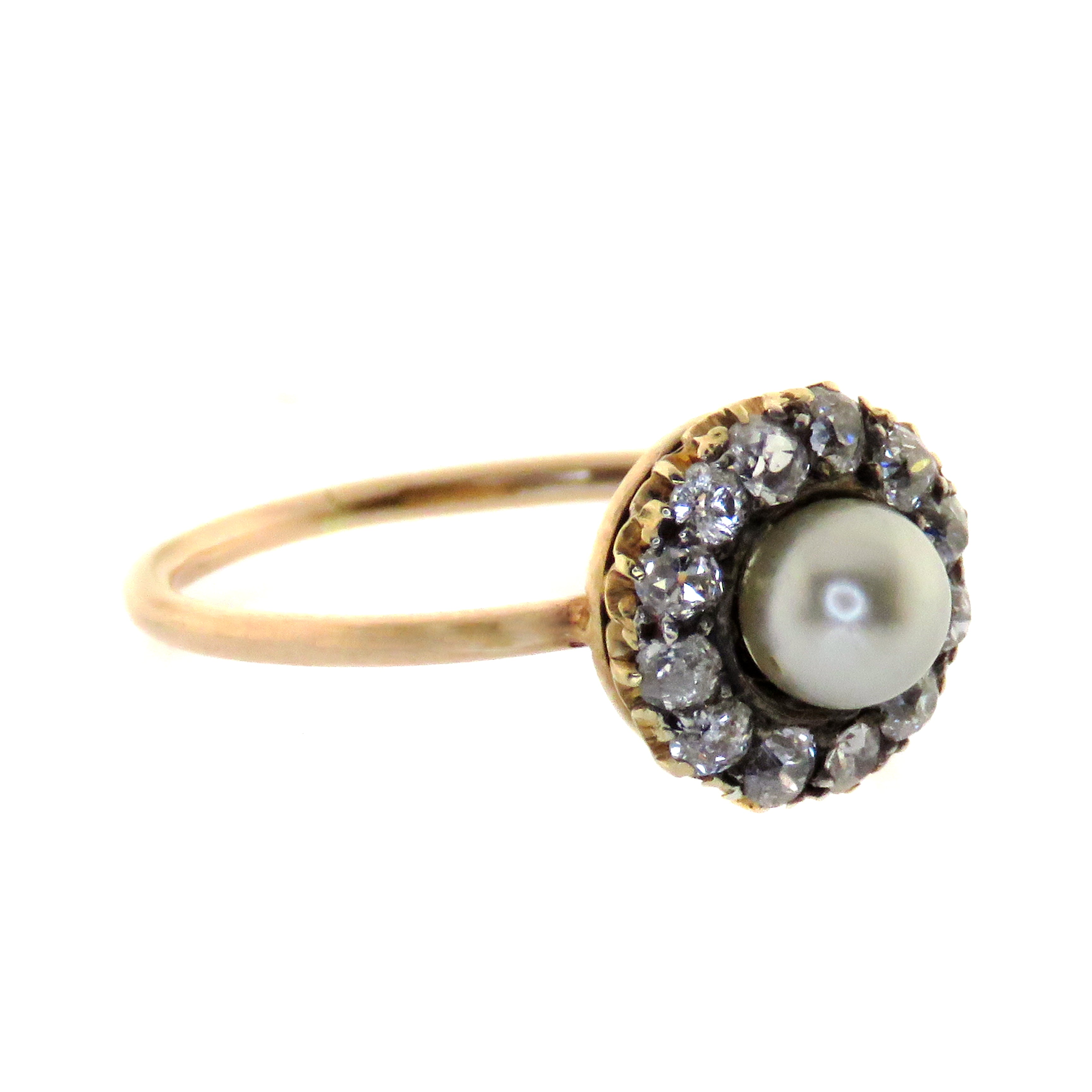 9ct Pink Gold Natural Pearl and Diamond Cluster Ring