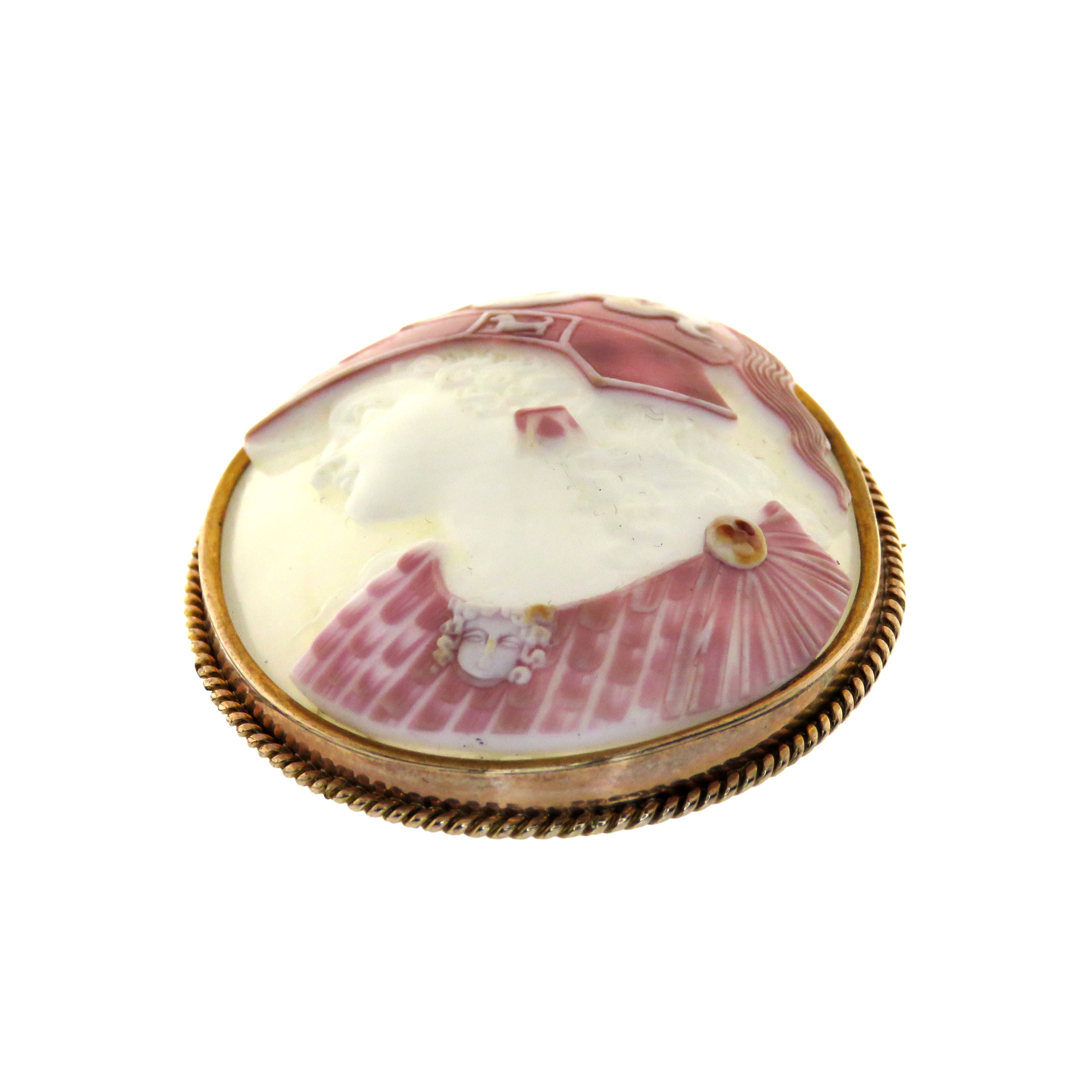 14ct Pink Cowrie Shell Athena Cameo Brooch/Pendant c. 1870
