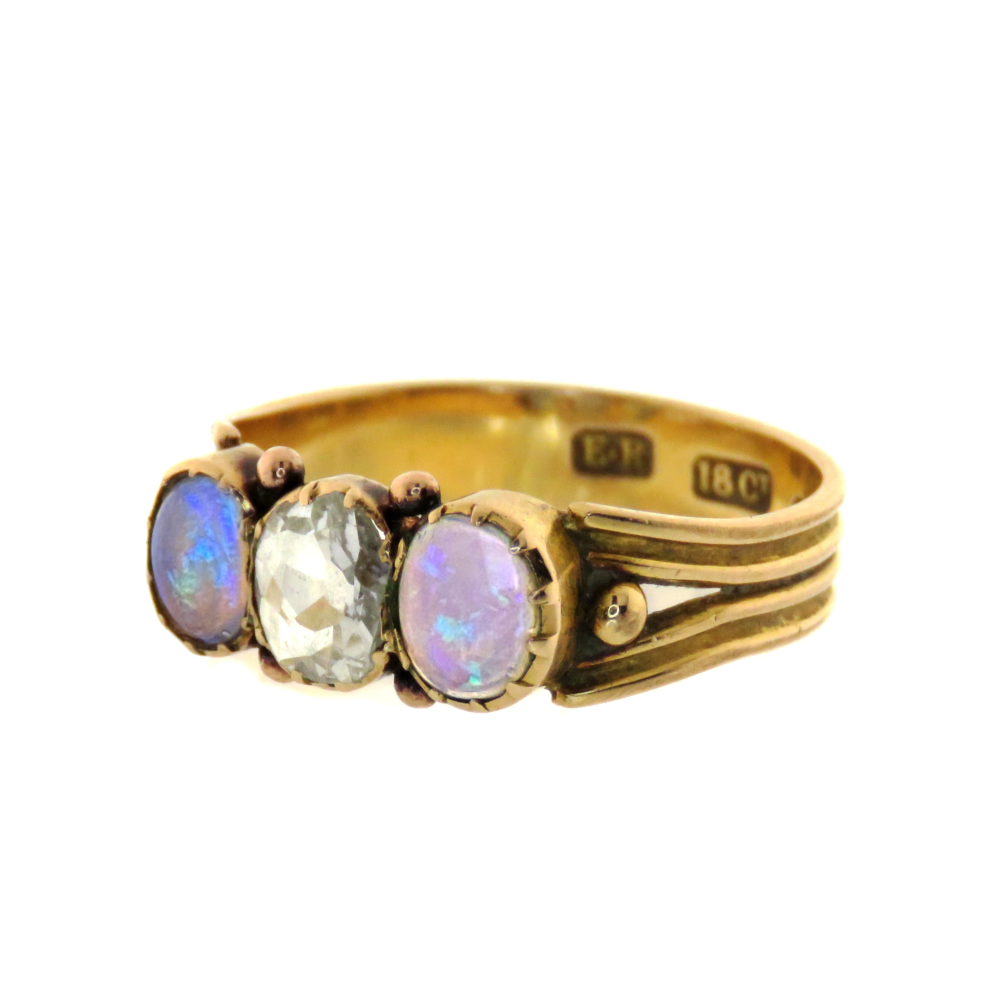 18ct Edwardian Three Stone Opal and Diamond Band