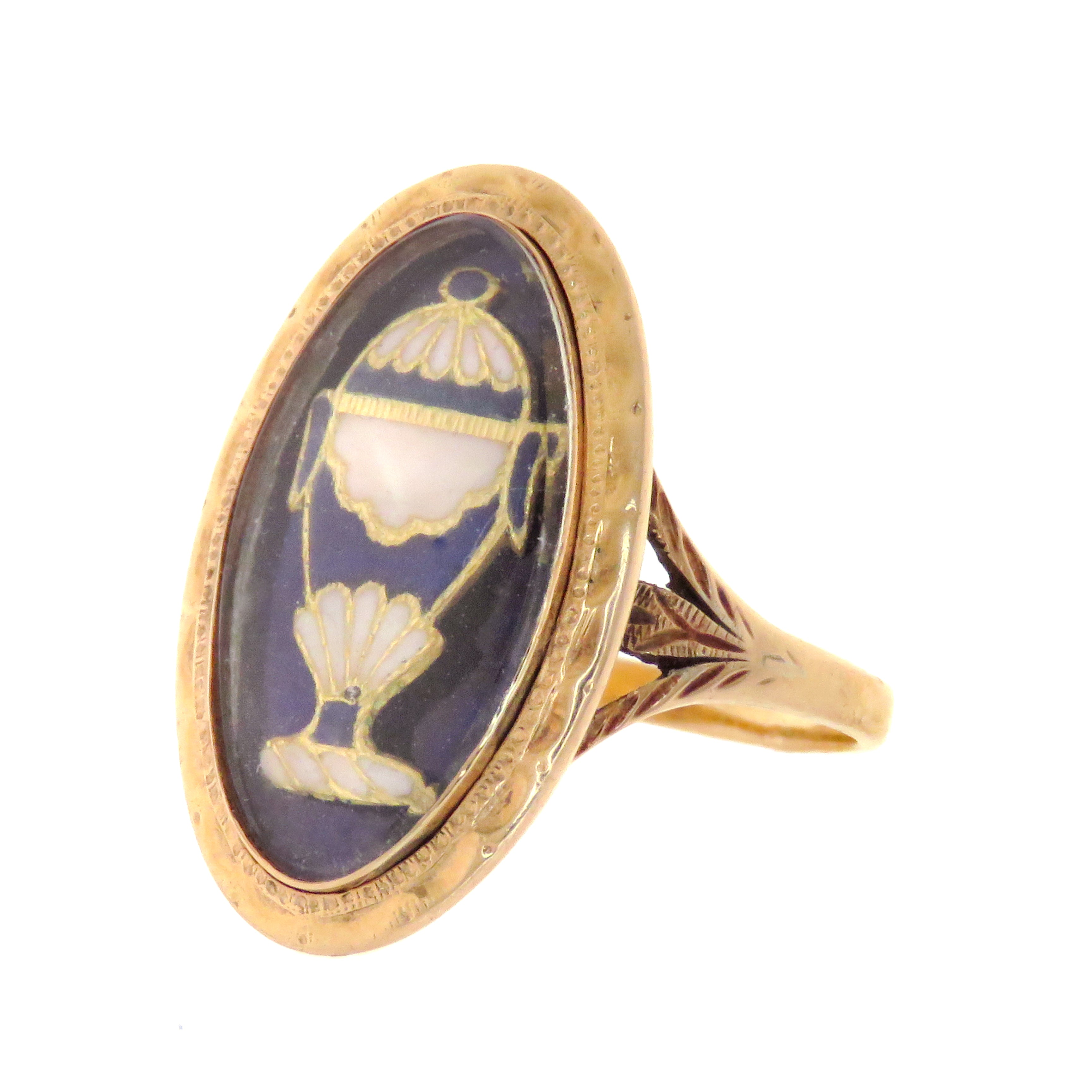 18ct Georgian Urn Ring Inscribed for 1783