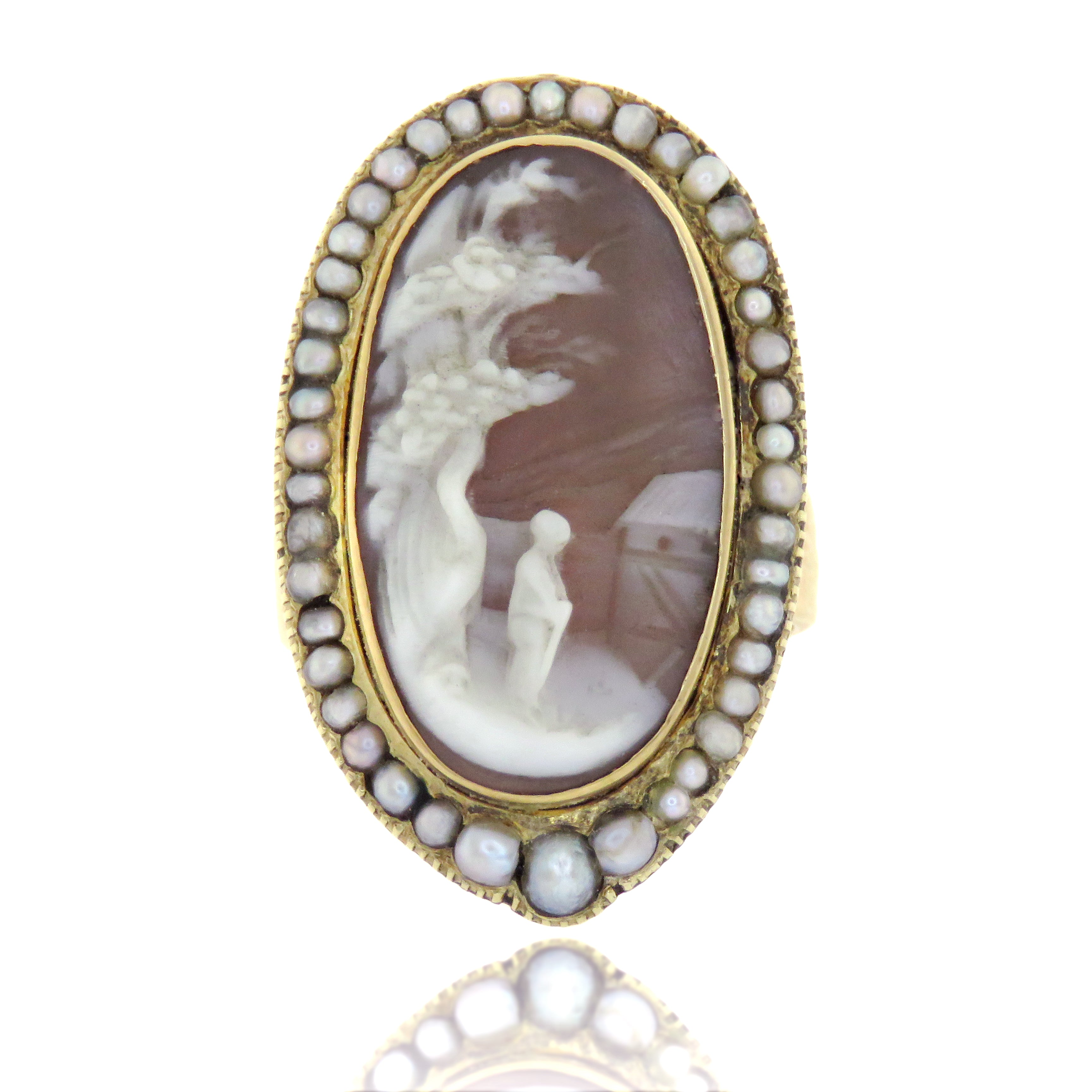 15ct Scenic Cameo Ring with Pearls