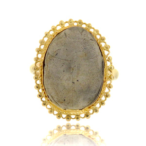 14ct Victorian Egyptian Revival Stone Paste Scarab Ring