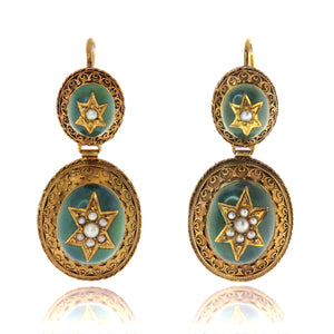 14ct/18ct Victorian Enamel And Pearl Earrings