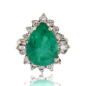 14ct 8.28ctw Emerald Pear and Diamond Ring with GIA Report