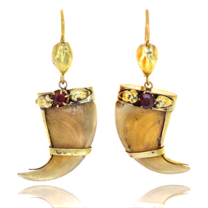 9ct Gold Filled Claw Shaped Garnet Earrings