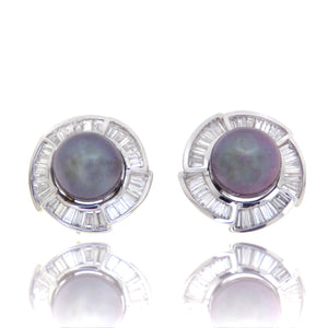 14ct Tahitian Pearl and Diamond Earrings