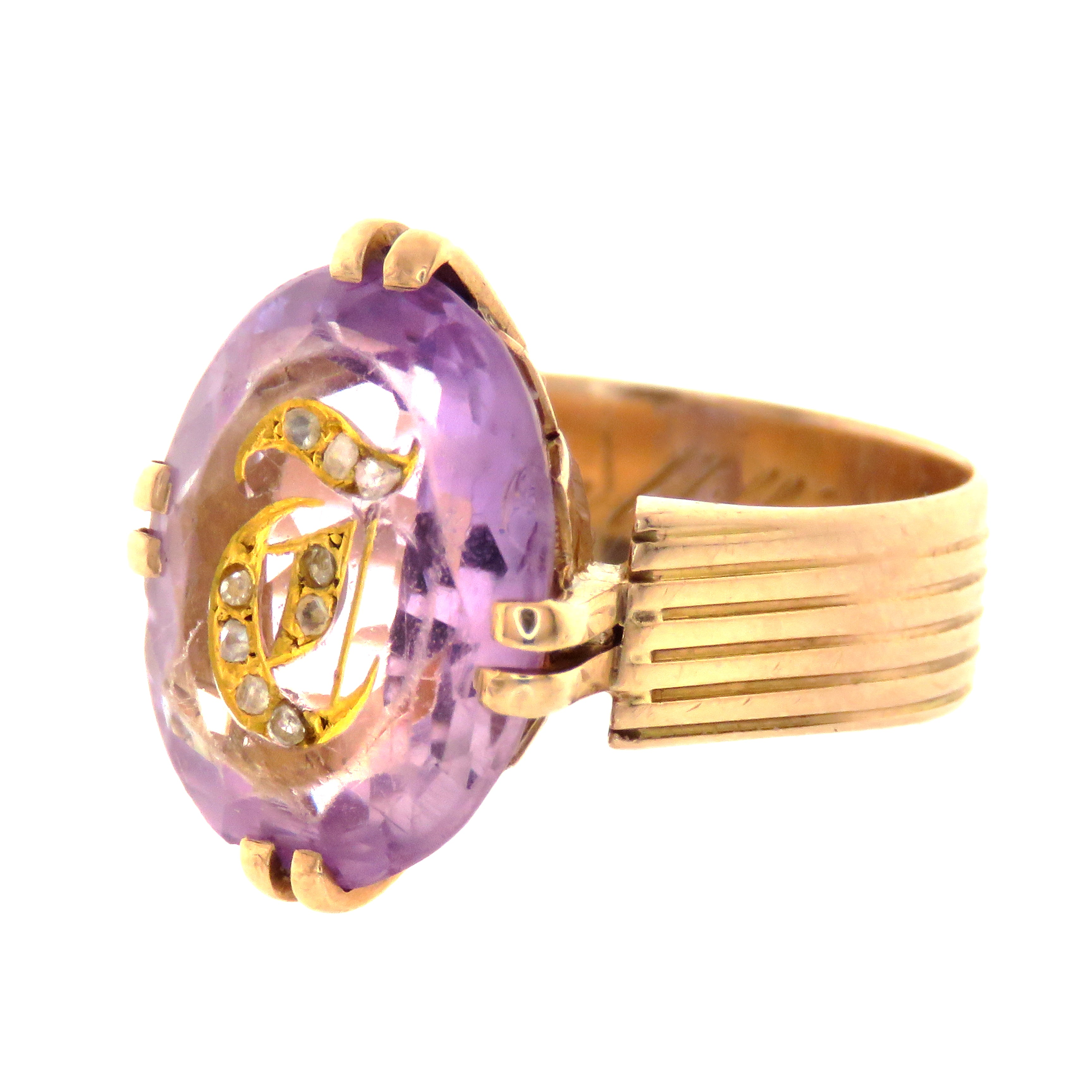 "14ct Victorian Amethyst ""T"" Initial Ring with Rose Cut Diamonds"