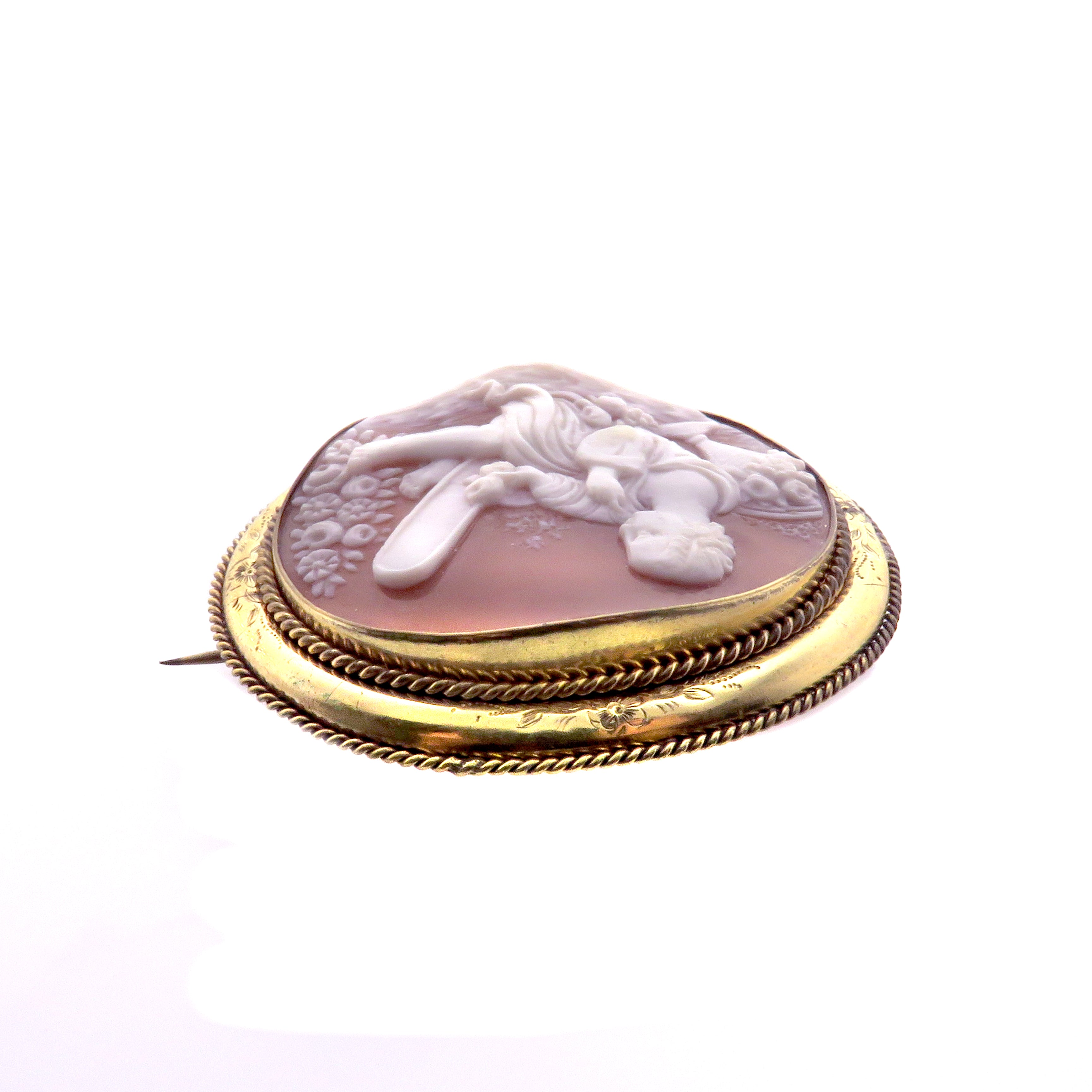 Gold Filled Shell Cameo Brooch of Vanitas
