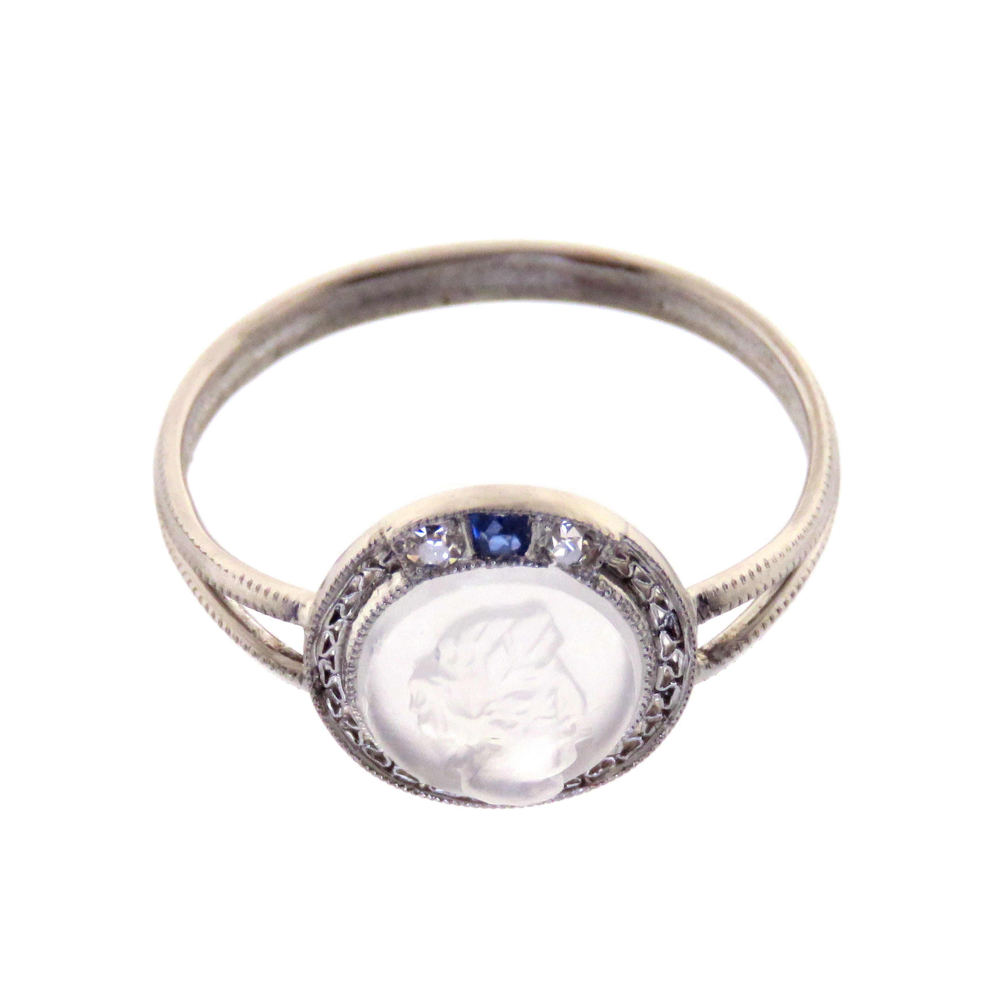 Platinum Moonstone Cameo Ring with Diamond and Sapphire