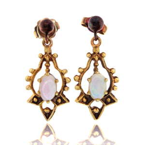Vintage 14ct Opal Earrings with Pearls