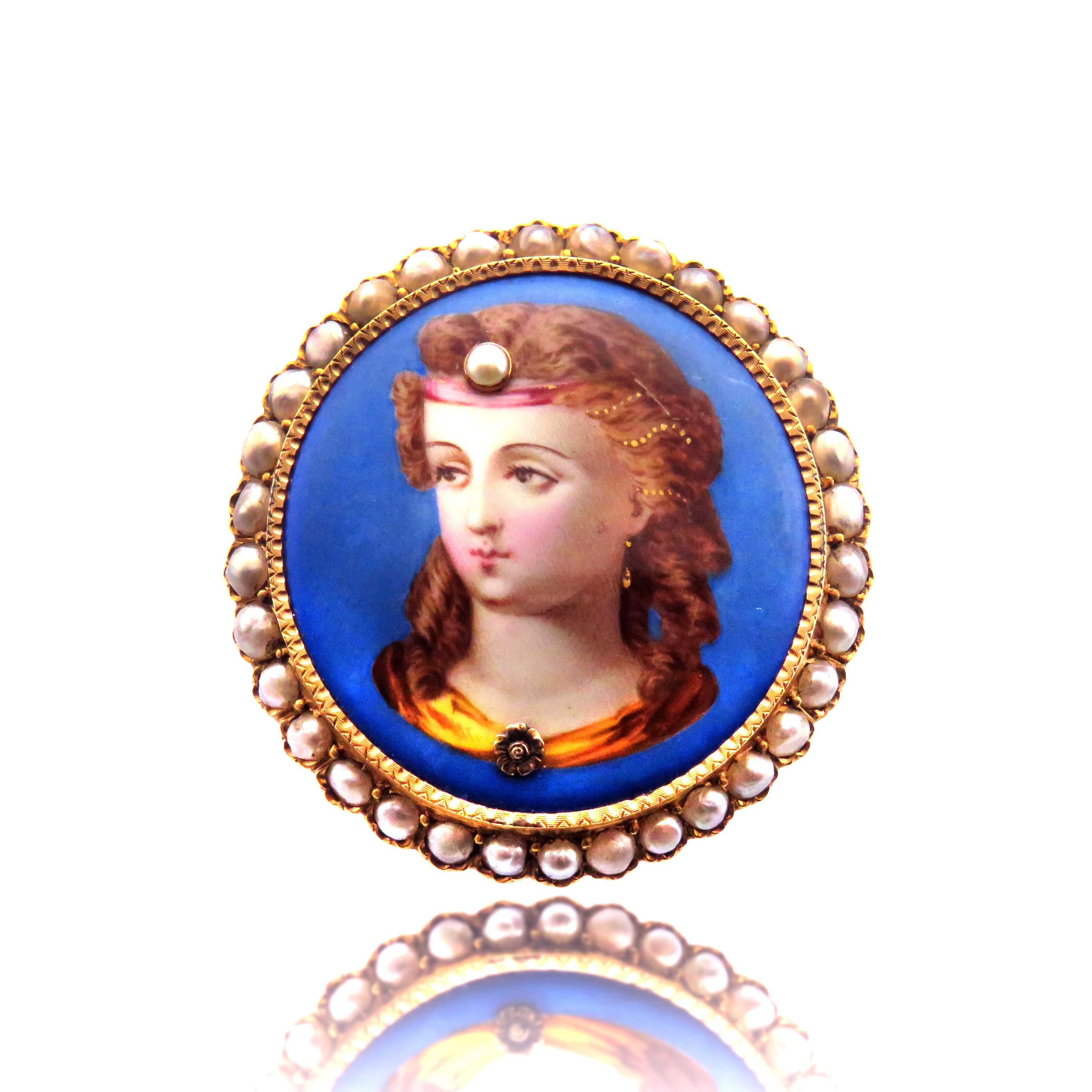 Mother of Pearl Painted Enamel Lady Brooch 18k Gold
