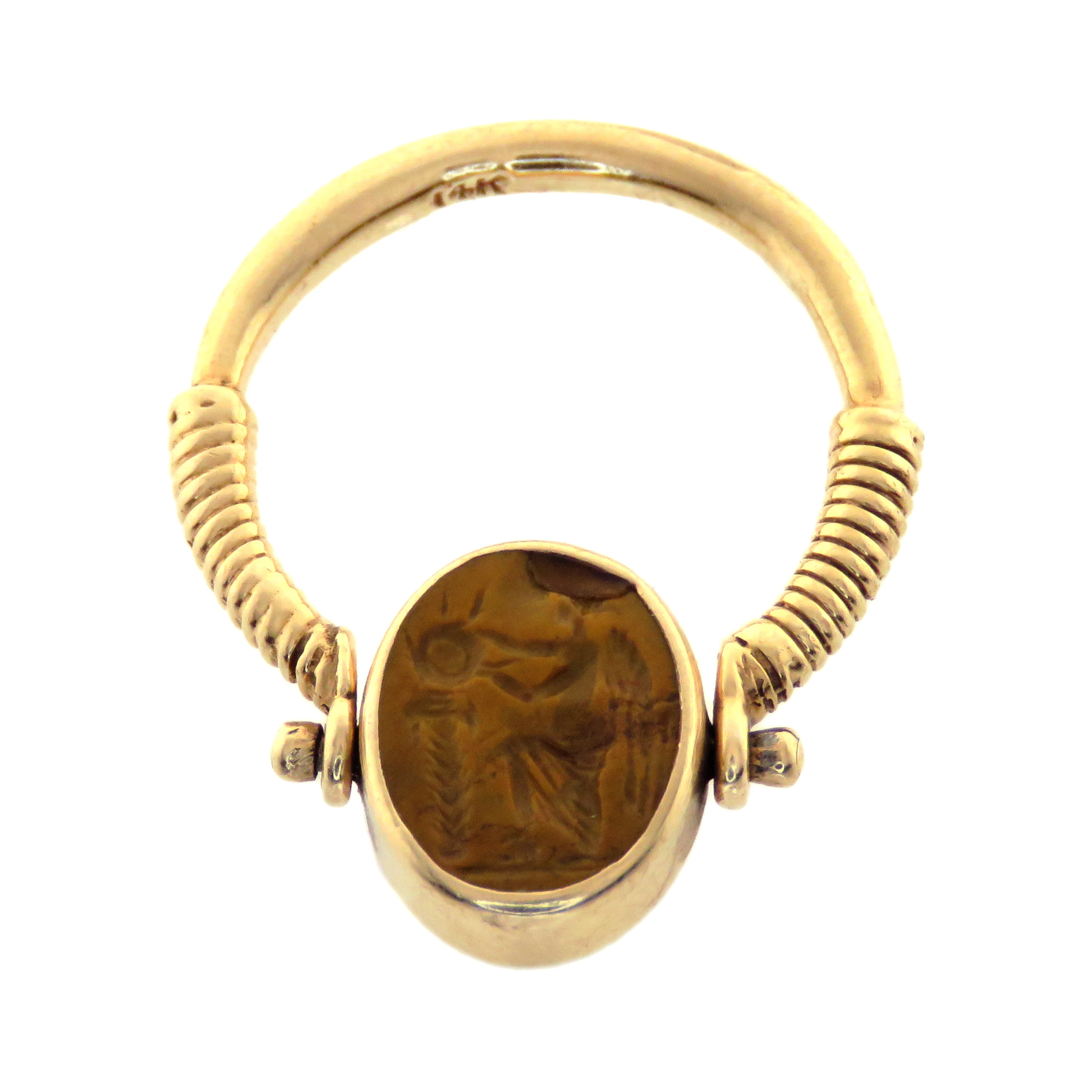 14ct Honey Jasper Eros Intaglio Flip Ring c. 1st Century