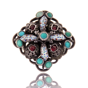 Tricolor Enamel Austro-Hungarian Ring with Garnet and Turquoise