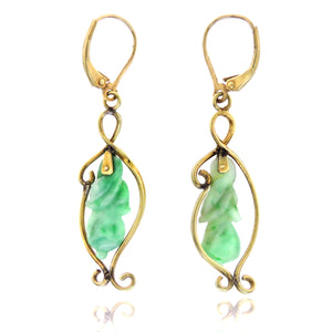 14ct Carved Jade Gourd Earrings