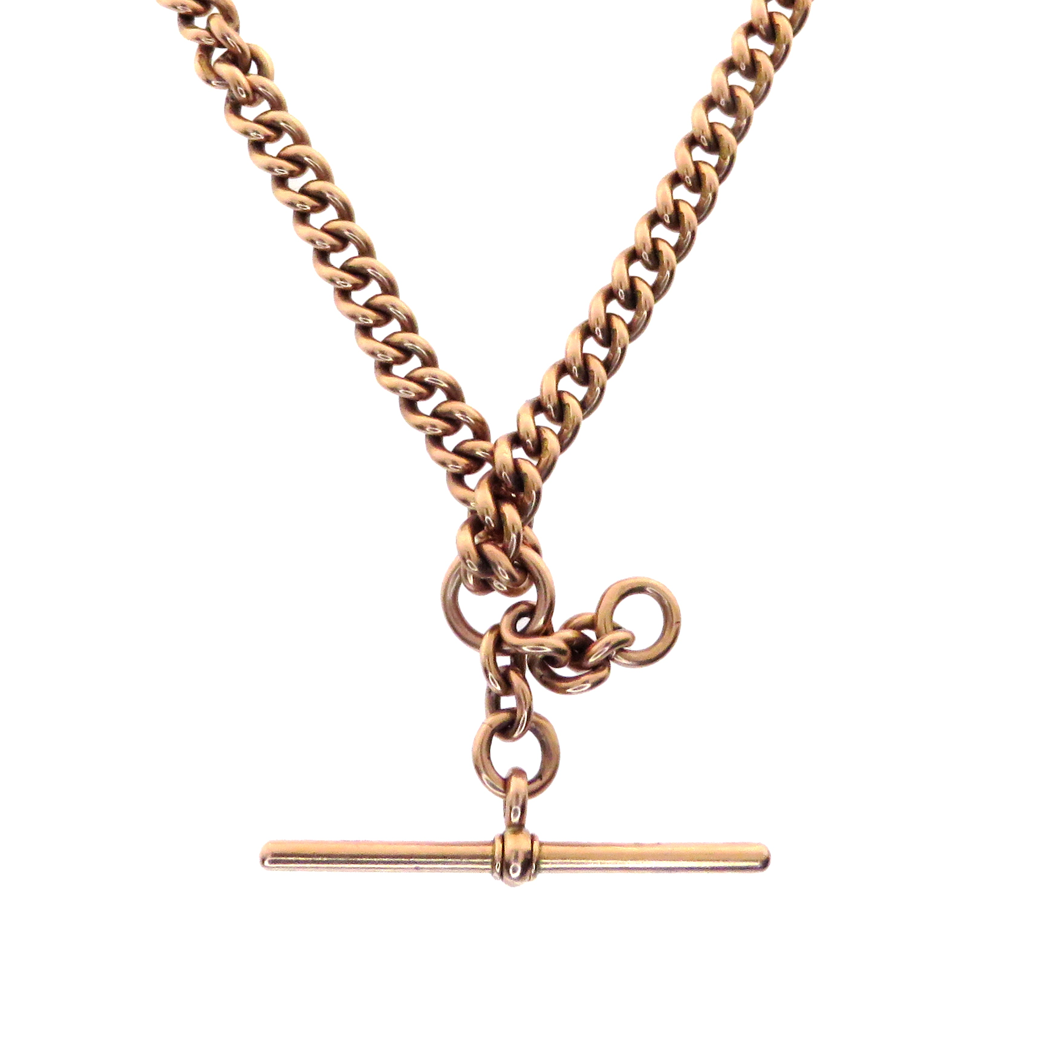 "9ct Pink Gold 15.5"" Cuban Chain With T Bar Slider"