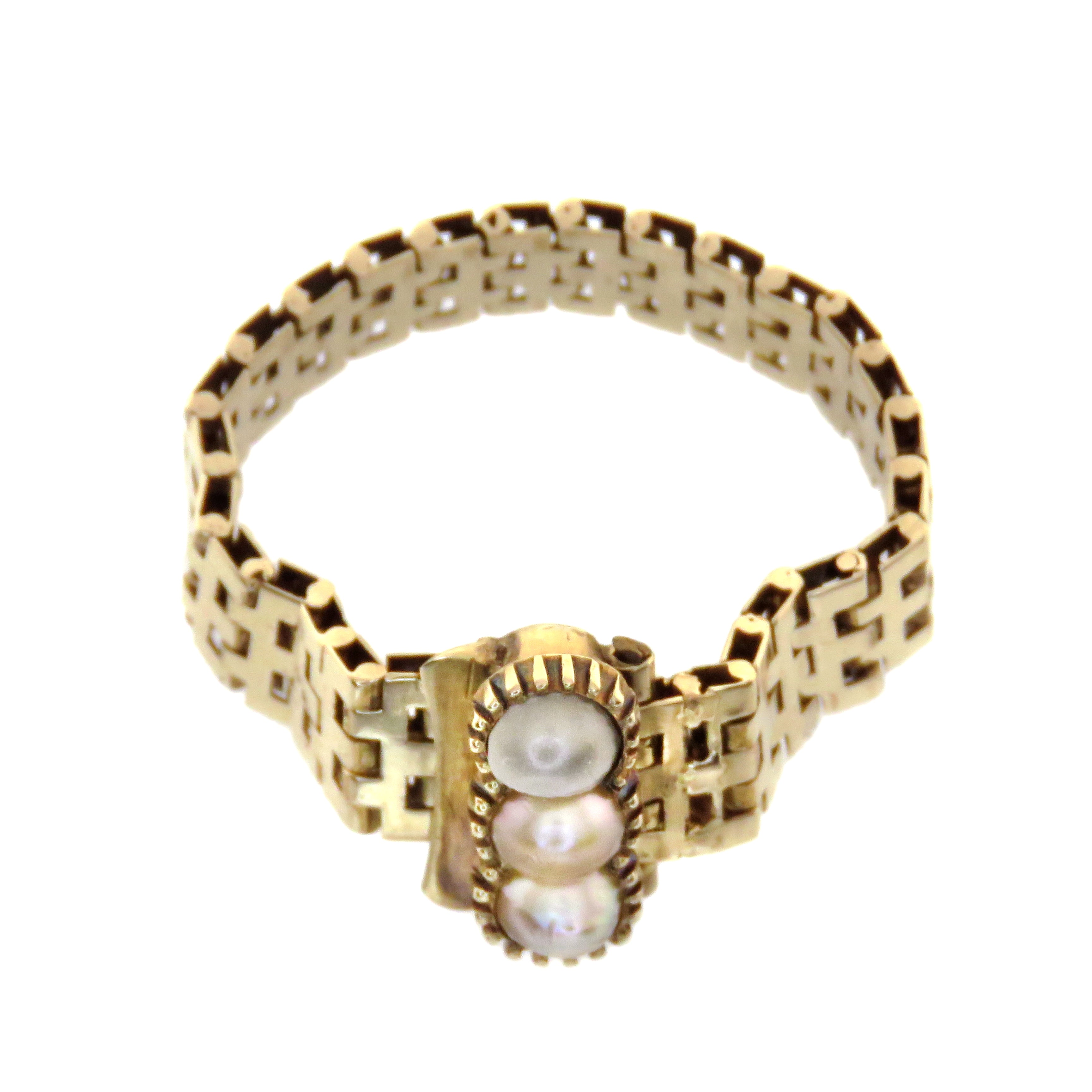 14ct Chain Ring with Triple Pearls