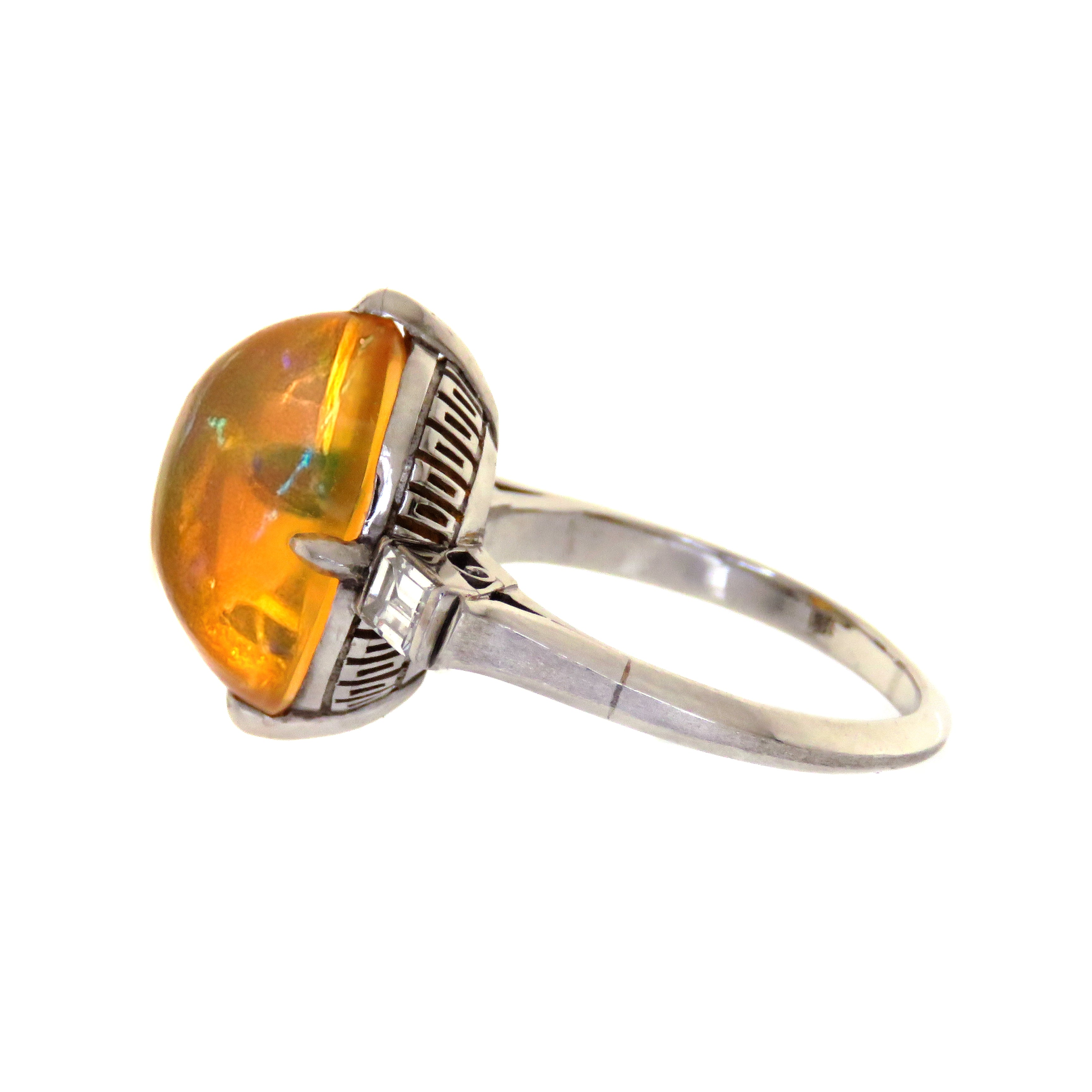 Platinum Fire Opal and Diamond Ring
