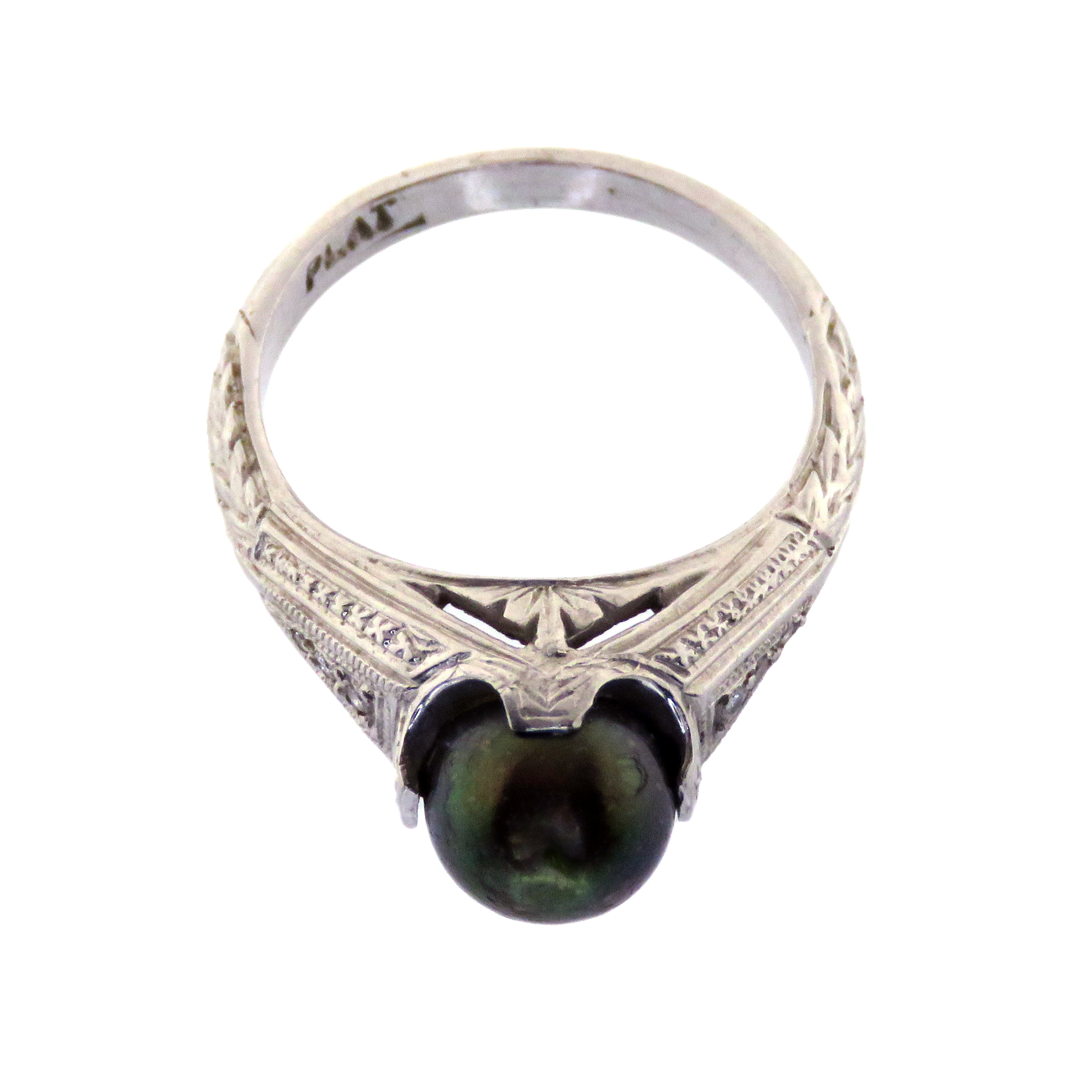 Platinum Art Deco Black Pearl Ring with Encrusted Diamonds