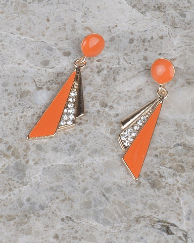 Angled Panel Crystal Studded Drop Earrings