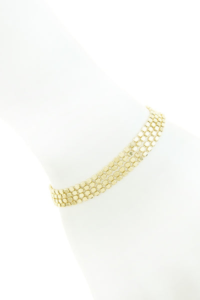 Shiny four row dotted chain bracelet