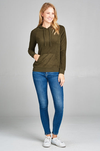Ladies fashion plus size long sleeve hoodie pull over w/kangaroo pocket french terry top