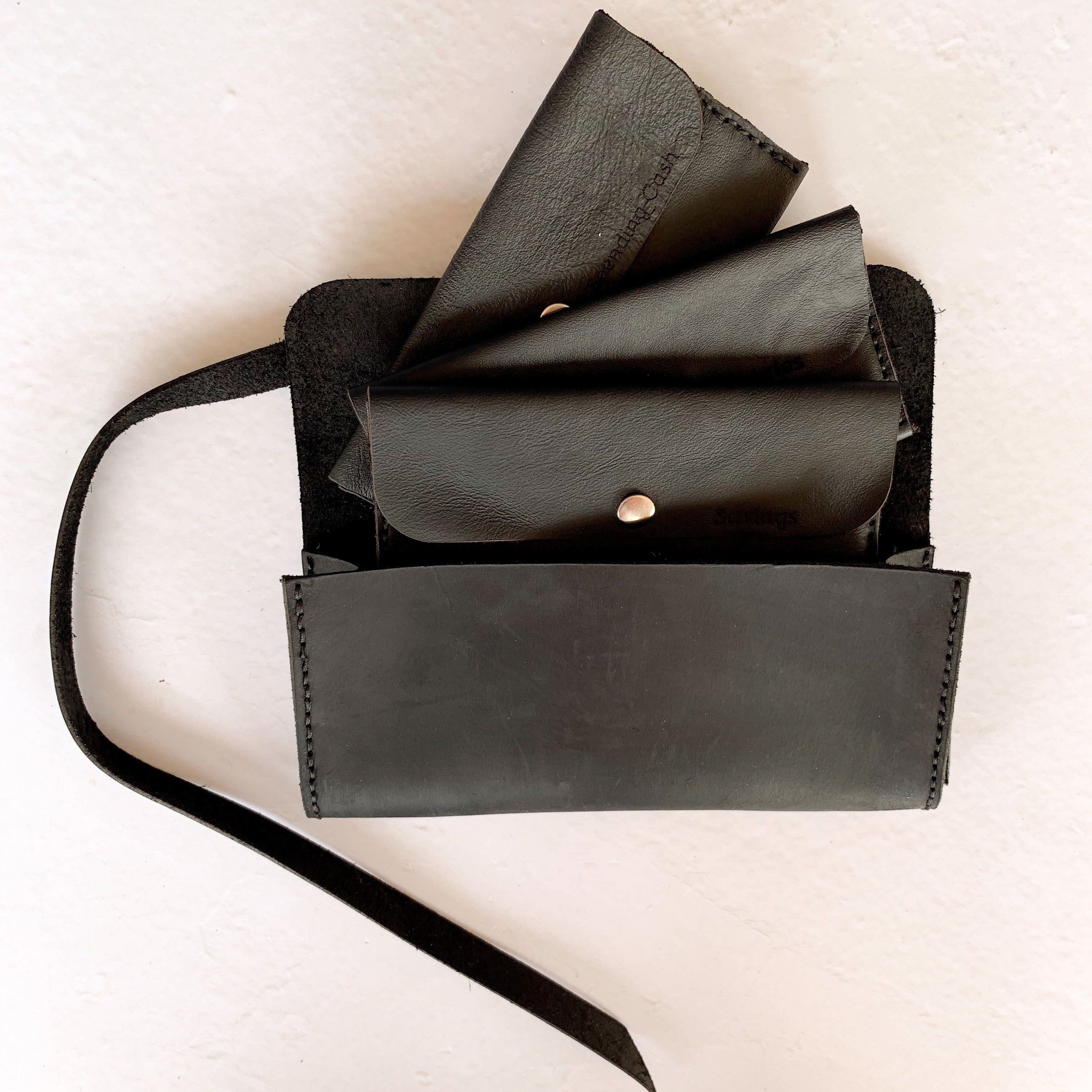 5 Cash Leather Envelope System in a Straight Edge Finish & Clutch