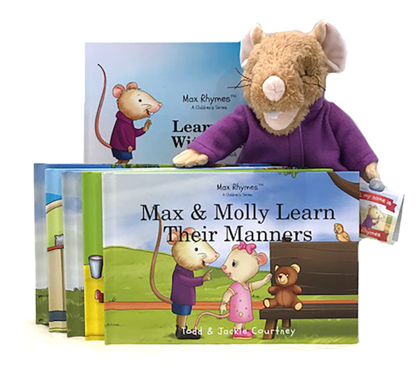 Set of 5 Hard Cover Books, 60 Page Activity Book, Max Plush