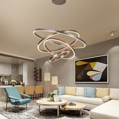 Modern Pendant Lights 4/3/2/1 Circle Rings Acrylic Aluminum LED Pendant Lamp for Living Room Dining Room-Pendant Lights-Raypom