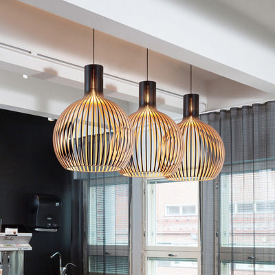 Modern Black Wood Birdcage E27 Bulb Pendant Lights Home Deco Bamboo Pendant Lamp-Pendant Lights-Raypom