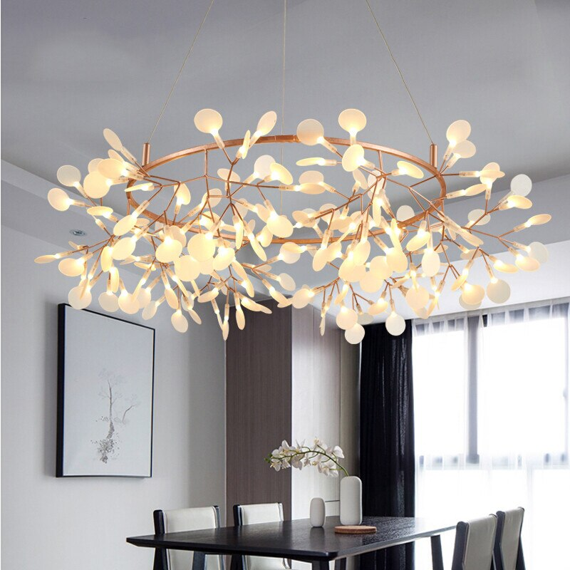 Big Round Modern Led Lamp Firefly Tree Branch Leaf Pendant Light