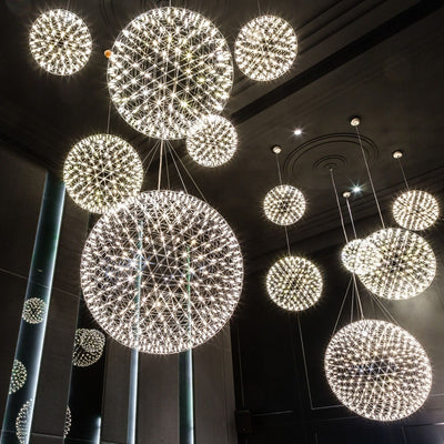 Modern Loft Spark Ball LED Pendant Light Firework Stainless Steel Pendant Lamps-Pendant Lights-Raypom