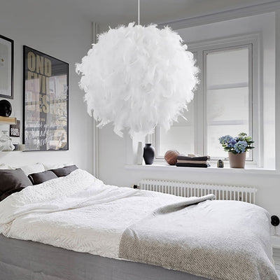 Modern Pendant Light Dreamlike Feather Droplight Bedroom Hanging Lamp-Pendant Lights-Raypom