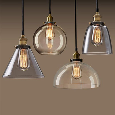 Vintage Pendant Lights Amber Glass E27 Edison Bulb Pendant Lamp-Pendant Lights-Raypom