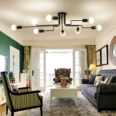 Loft Nordic Pipe Wrought Iron Ceiling Light 4/6/8 Heads Lamp-Ceiling Lights-Raypom