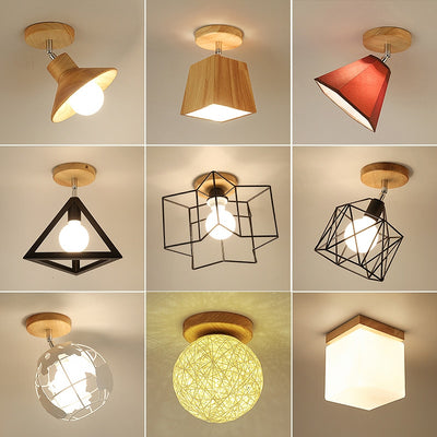 E27 5W Iron Ceiling Lamp Shade Pendant Light Covers and Shades Triangle Metal Ceiling Lamp-Ceiling Lights-Raypom