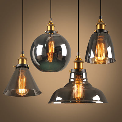 Vintage Glass Pendant Lights Loft Hang Lamp Smoky Grey Hanging Light-Pendant Lights-Raypom