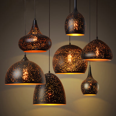 Vintage Pendant Light Iron Loft Nordic Porous Etching Lampshade-Pendant Lights-Raypom