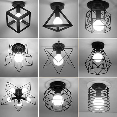 Vintage Ceiling Lights Lustre Luminaria Led Ceiling Lamp Loft Iron Cage Fixtures Lighting-Ceiling Lights-Raypom