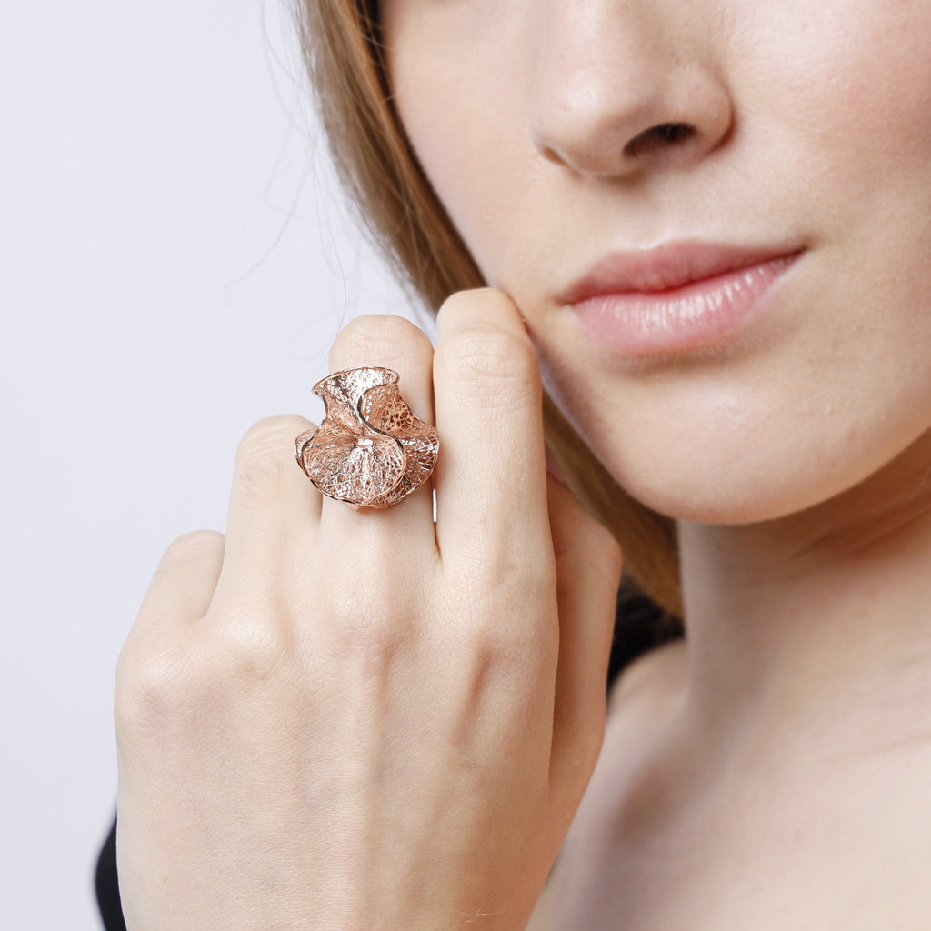3D Ripple Rose Gold Ring