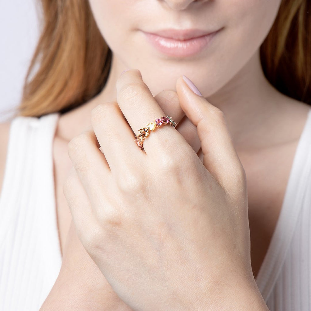 9 karat rose gold rainbow heart tourmaline ring