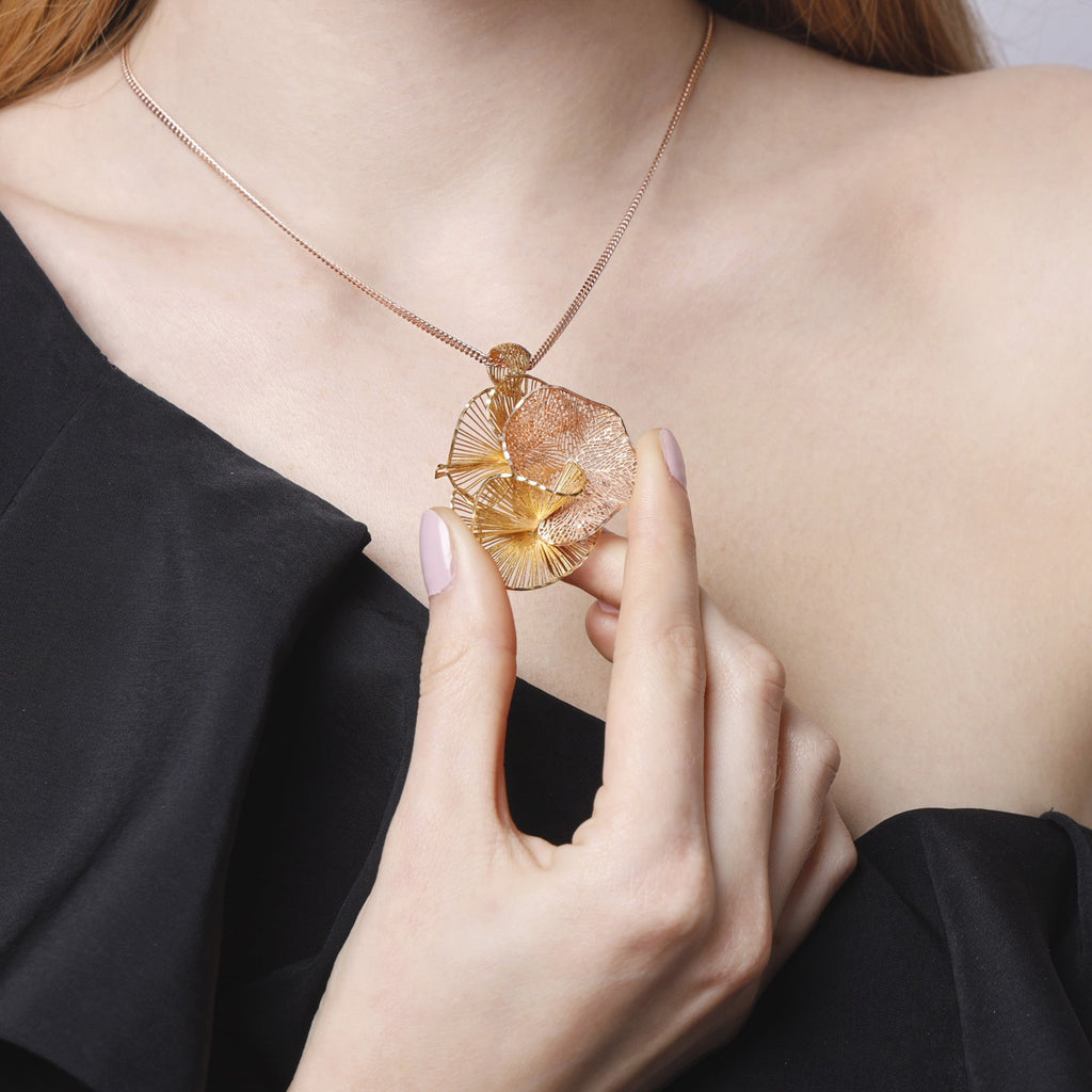 Trio Flora Gold & Rosegold Necklace