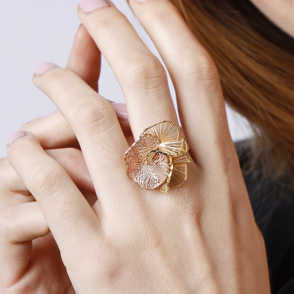 Trio Flora Gold & Rosegold Ring