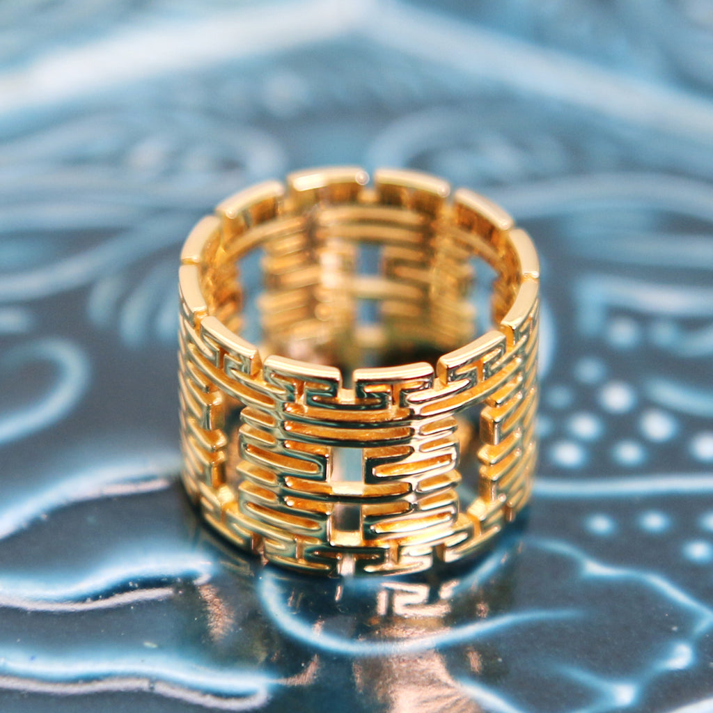 14k/18k Solid Gold Custom Wedding Ring with Chinese Double Happiness motifs, Wedding Ring, Custom Jewelry, Cacus Jewelry